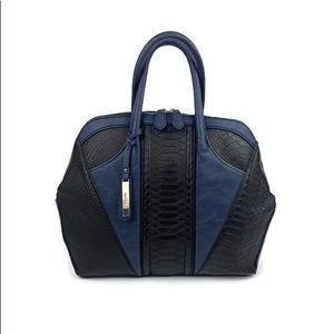 Kensie Black and Navy Snakeskin Hobo Handbag
